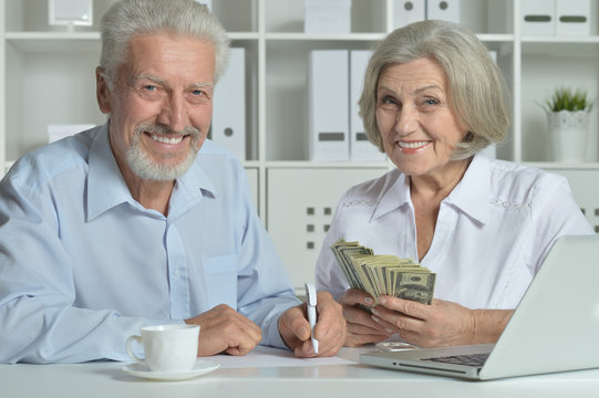 senior couple with laptop and money