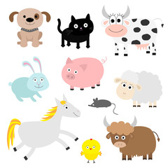 Farm animal set. Dog, cat, cow, rabbit, pig, ship, mouse, horse, chiken, bull. Baby background. Flat design style.