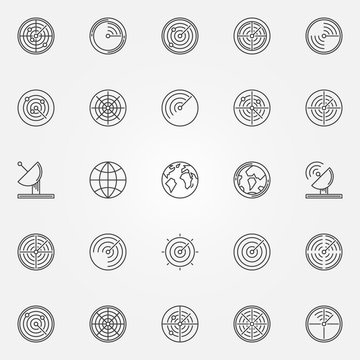 Radar icons set