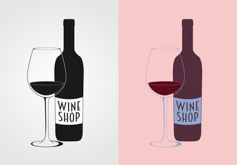 Wine Vector Logo concept, badge or label