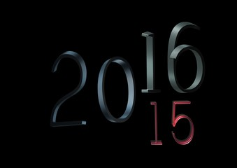 2016 changes in 2015, 3d on a black background