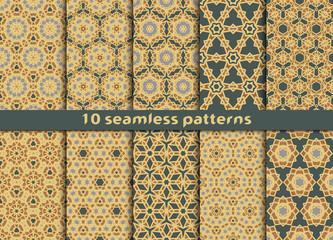 Set of ten geometric seamless patterns. Fashion prints with Swatch.