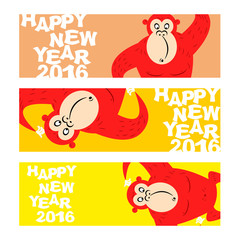 Happy new year. Holiday banner for Web. Symbol of Chinese new ye