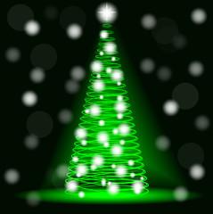 Neon Christmas tree from spirals. Blur, bokeh.