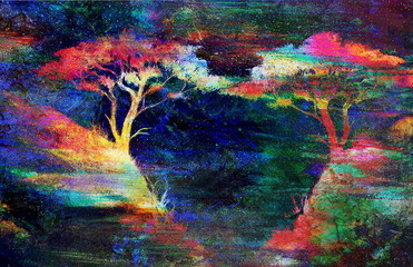 Painting sunset, sea and tree, wallpaper landscape, color collage.