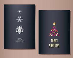 Christmas greeting cards set, vector illustration. Three snowflakes in a row, single fir tree on the other card. Dark blue background. Minimalistic paper cut style.