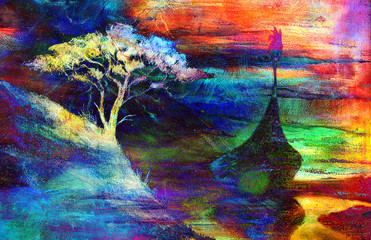 Viking Boat and tree on the beach, Boat with wood dragon.painting collage wallpaper landscape