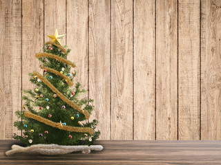 3d rendered christmas tree with wooden backdrop
