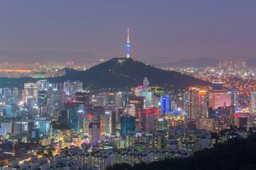 Aluminium Prints Seoul Seoul City Skyline, The best view of South Korea at Night