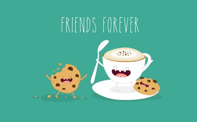 Coffee and cookies illustration. Vector cartoon. Friends forever. Comic characters.