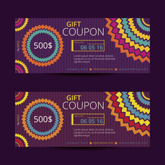 Gift voucher with bright geometric design. Vector templates for coupon with random colored circles.