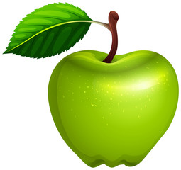 Green apple with leaf and stem