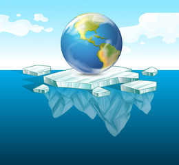 Save the earth theme with earth on ice