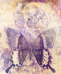 woman and  color butterfly, mixed medium, abstract color background