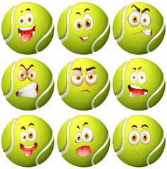 Tennis ball with facial expression