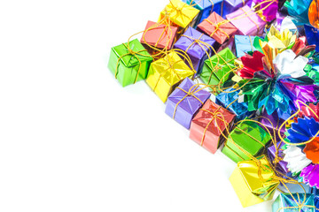 Background with ribbon gift boxes