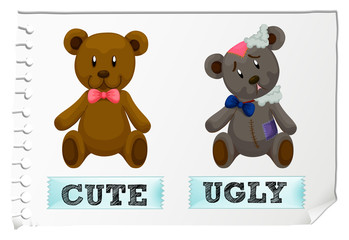 Opposite adjectives with cute and ugly