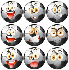 Soccer ball with facial expressions
