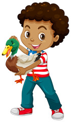 African american boy holding a duck