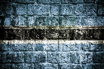 Botswana Flag painted on brick wall