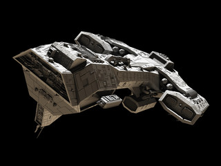 Spaceship on black - front side view illustration