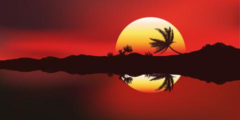 Paysage-Couche de soleil-Ile
