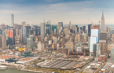 Skyline of Manhattan. New York City from helicopter
