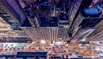 High angle view of New York skyscrapers at night
