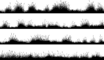 Horizontal banners of meadow silhouettes with grass Wall mural