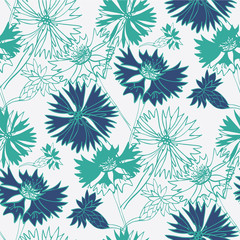 Flower seamless pattern with cornflowers.