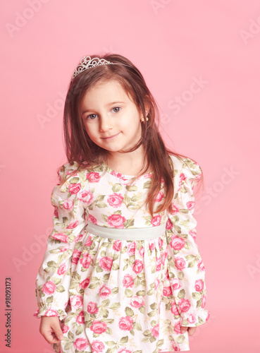 """""""Smiling baby girl 4-5 year old posing in room over pink ...  """"Smiling b..."""