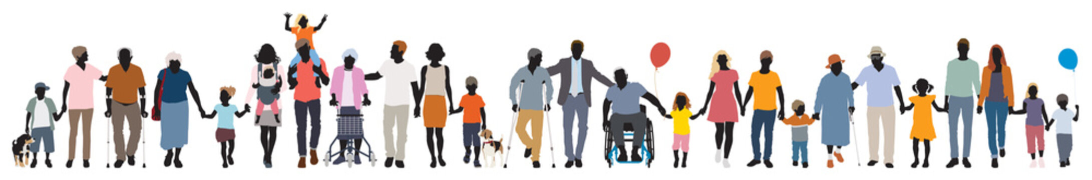 Editable vector silhouettes of people walking together