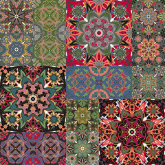 Seamless floral patchwork pattern. Vector checkered backgrounds set. Abstract textures with tile in east style