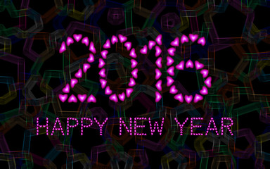 2016 Happy New Year made from pink hearts on abstract background