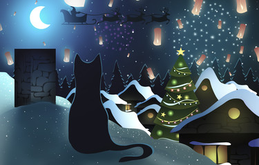 Christmas. Cat on a snowy roof on night village background. Fireworks, Santa, lanterns and Christmas tree.