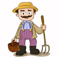 Vector illustration of cartoon farmer with pitchfork and basket on isolated white background. Character design
