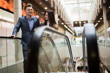 Couple in a shopping center