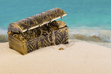 Treasure chest from pirates with gold coins and nuggets