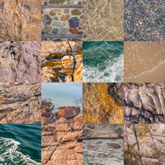 collage of sea texture
