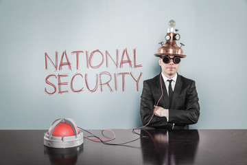 National security concept with businessman