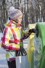 Recycling, Moscow, Russia, woman
