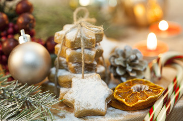 Christmas cookies and decorative objects