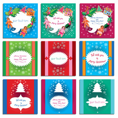 Winter holiday greeting card set - 9 bright vector illustration. Merry Christmas, Happy New Year, Wishes calligraphic / frames for customer text. Show, ribbon, gingerbread cookie, christmas tree.