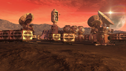 Colony on a Mars like red planet, with crate pods, satellite dishes and a moon on a dusty sky, for planetary and space exploration backgrounds