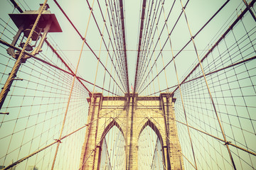 Retro toned picture of the Brooklyn Bridge, NYC.
