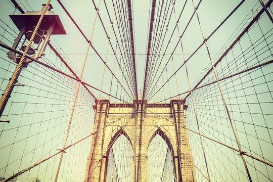 Retro toned picture of the Brooklyn Bridge, NYC.