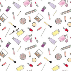 Watercolor Hand drawn sketch seamless pattern of makeup accessories on white