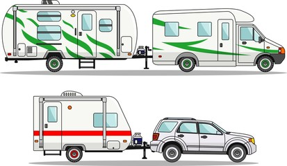 Set of car and travel trailers on a white background in flat style. Vector illustration