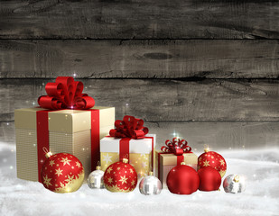 Christmas theme with glass balls and gift box on wooden background wall and free space for text