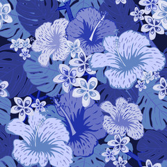 Floral seamless pattern with blue hand drawn flowers and leafs.